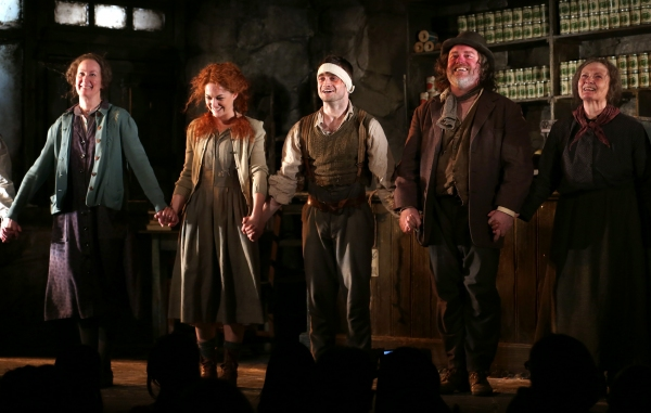 Ingrid Craigie, Sarah Greene, Daniel Radcliffe, Pat Shortt and Gillian Hanna during the Curtain Call at the first preview of ''The Cripple of Inishman''  at the Cort Theatre on April 12, 2014 in New York City.