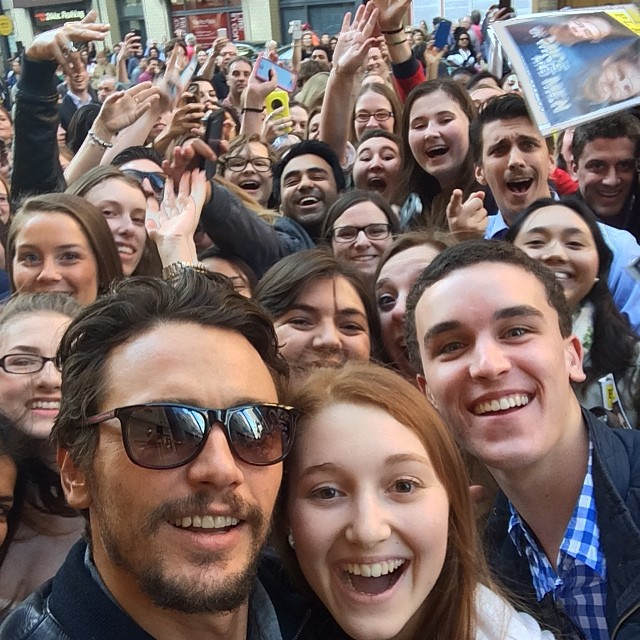 James Franco Shares Stage Door Selfie With Fans At OF MICE AND MEN
