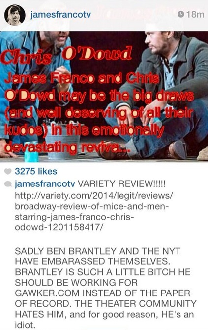 New York Times Critic Ben Brantley Responds to James Franco's Jab