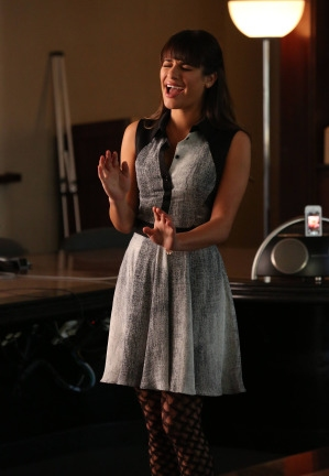 """GLEE: Rachel (Lea Michele) auditions for a television pilot in the """"Back-Up Plan"""" episode of GLEE airing Tuesday, April 29 (8:00-9:00 PM ET/PT) on FOX. ©2014 Fox Broadcasting Co. CR: Tyler Golden/FOX"""