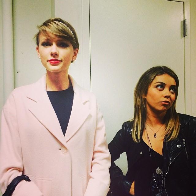 Taylor Swift & Sarah Hyland Dress Up To Attend UNDER MY SKIN