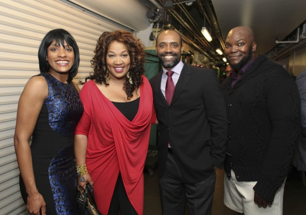 Cast member Alicia Hall Moran, actress Kym E. Whitley and cast members Nathaniel Stampley and Dwelvan David
