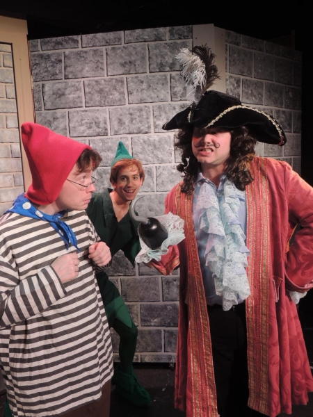 Matt Crawford as Mr. Smee, Joseph Waeyaert as Peter, and Jordan B. Stocksdale as Captain Hook
