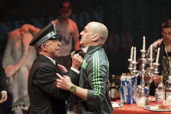 Tiger Brown (John Leslie Wolfe) confronts Crook-Finger Jake (Sean Fri) Photo