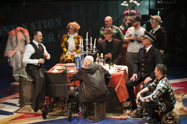 Macheath (Mitchell Jarvis, left) holds court on his wedding day (from left clockwise: Erin Driscoll, Sean Fri, Thomas Adrian Simpson, Paul Scanlan, John Leslie Wolfe, Ryan Sellers, and Rick Hammerly).