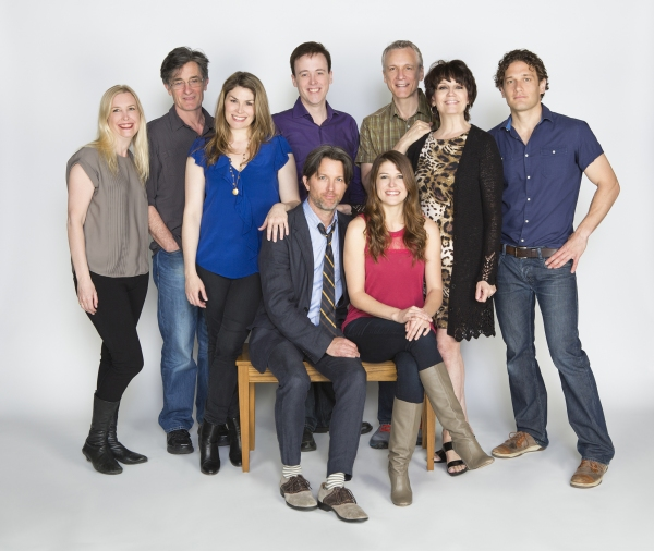 The cast and creative team of Dog and Pony: (seated) cast members Jon Patrick Walker and Nicole Parker and (standing, from left) choreographer Lisa Shriver, director Roger Rees, cast member Heidi Blickenstaff, composer Michael Patrick Walker, playwright R