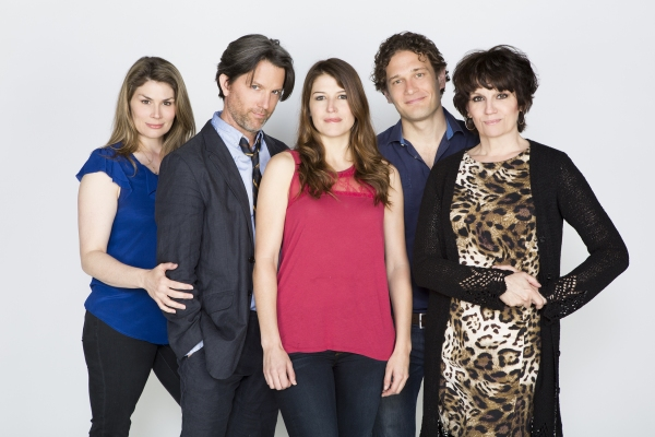 The cast of Dog and Pony: (from left) Heidi Blickenstaff, Jon Patrick Walker, Nicole Parker, Eric William Morris, and Beth Leavel.