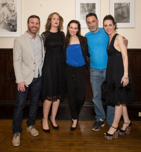 Justin Hagan, with playwright Lisa Tierney-Keogh, Elizabeth A. Davis, Victor Verhaeg Photo
