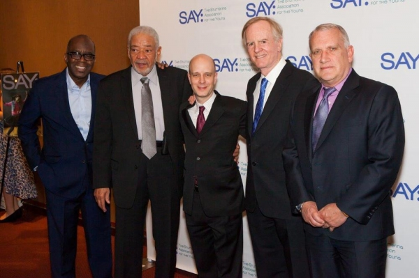 Past honorees Ken Roberson, Bill Withers, Taro Alexander (SAY Founder), John Sculley Photo