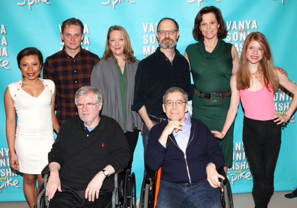 (L-R) Shalita Grant, Billy Magnussen, Kristine Nielsen, David Hyde Pierce, Sigourney Weaver and Genevive Angelson pose behind playwright Christopher Durang (L) and Director Nicholas Martin attending the Cast & Creative Meet & Greet for the Broadway Bound