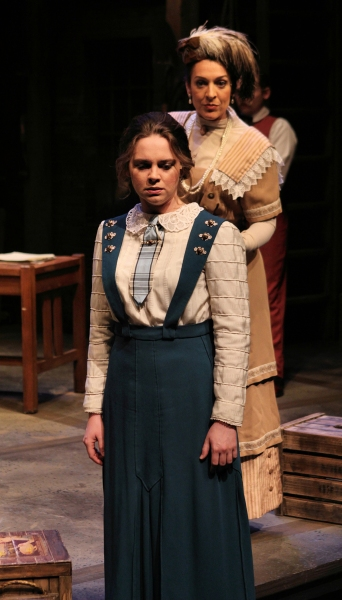 Harriet (Kendall Anne Thompson) is questioned by Mrs. T.G. Winter (Jen Burleigh-Bentz) and must decide between telling the truth or protecting one of the boys