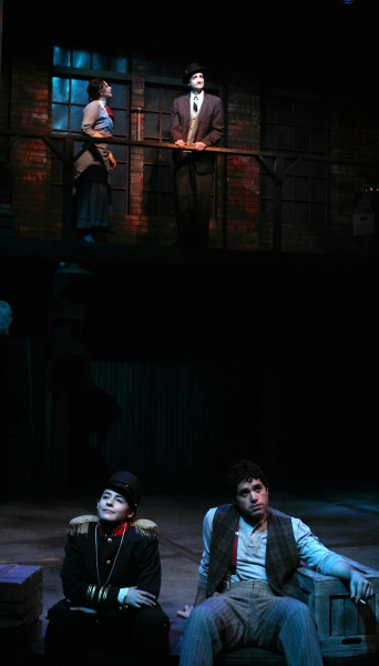 Above Harriet (Kendall Anne Thompson) and Professor C.C. Heintzeman (Jon Andrew Hegge) talk about the working boys band while below, Andy (Christian Bardin) and Franky (Ricardo Vazquez) relax in the moonlight