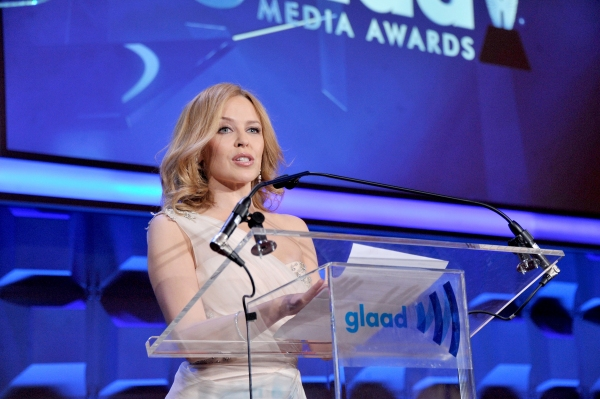 NEW YORK, NY - MAY 03:  Kylie Minogue speaks at the 25th Annual GLAAD Media Awards on May 3, 2014 in New York City.  (Photo by Stephen Lovekin/Getty Images for GLAAD)
