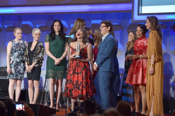 NEW YORK, NY - MAY 03: (L-R) Emma Myles, Taryn Manning, Laura Prepon, Yael Stone, Selenis Leyva, Alysia Reiner attend the 25th Annual GLAAD Media Awards on May 3, 2014 in New York City.  (Photo by Stephen Lovekin/Getty Images for GLAAD)
