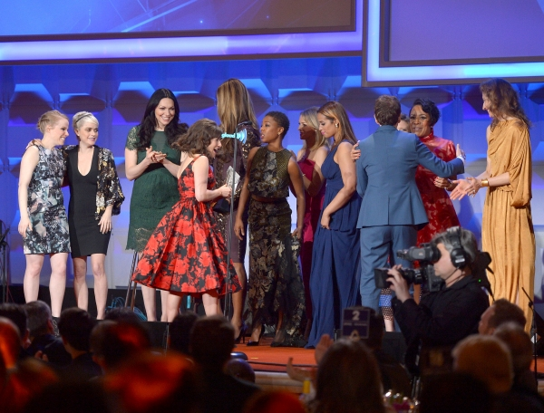 NEW YORK, NY - MAY 03: Emma Myles, Taryn Manning, Laura Prepon, Yael Stone, Samira Wiley, Dascha Polanco, Selenis Leyva, Alysia Reiner attend the 25th Annual GLAAD Media Awards on May 3, 2014 in New York City.  (Photo by Stephen Lovekin/Getty Images for G