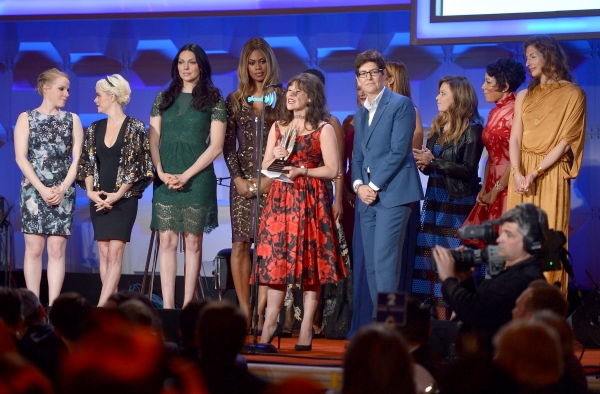 NEW YORK, NY - MAY 03: (L-R) Emma Myles, Taryn Manning, Laura Prepon, Laverne Cox, Yael Stone, Natasha Lyonne, Selenis Leyva, Alysia Reiner attend the 25th Annual GLAAD Media Awards on May 3, 2014 in New York City.  (Photo by Stephen Lovekin/Getty Images