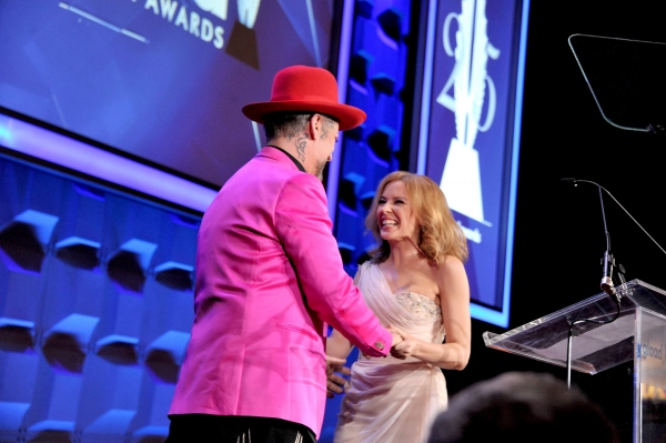 NEW YORK, NY - MAY 03: Boy George and Kylie Minogue attend the 25th Annual GLAAD Media Awards on May 3, 2014 in New York City.  (Photo by Stephen Lovekin/Getty Images for GLAAD)