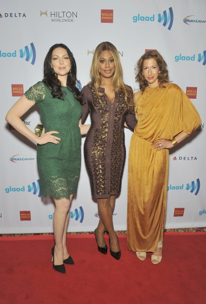 NEW YORK, NY - MAY 03:  Laura Prepon, Laverne Cox and Alysia Reiner attend the 25th Annual GLAAD Media Awards In New York on May 3, 2014 in New York City.  (Photo by D Dipasupil/Getty Images for GLAAD)