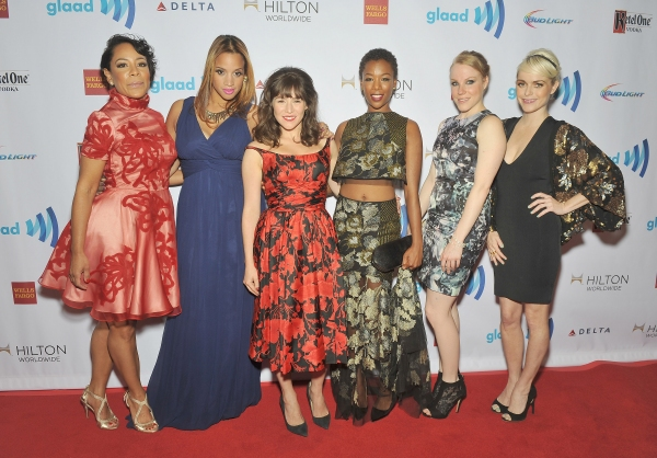 NEW YORK, NY - MAY 03:  Selenis Leyva, Dascha Polanco, Yael Stone, Samira Wiley, Emma Myles and Taryn Manning attend the 25th Annual GLAAD Media Awards In New York on May 3, 2014 in New York City.  (Photo by D Dipasupil/Getty Images for GLAAD)