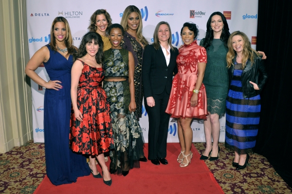 NEW YORK, NY - MAY 03:  (L-R) Dascha Polanco, Yael Stone, Alysia Reiner, Samira Wiley, Laverne Cox, Selenis Leyva, Laura Prepon and Natasha Lyonne attend the 25th Annual GLAAD Media Awards on May 3, 2014 in New York City.  (Photo by Stephen Lovekin/Getty