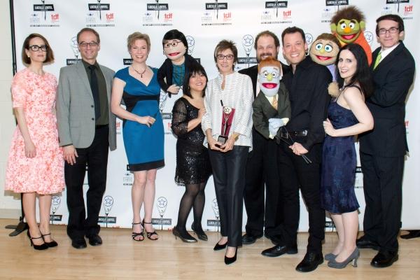 Sarah Paulson, Robyn Goodman, and original cast members of AVENUE Q