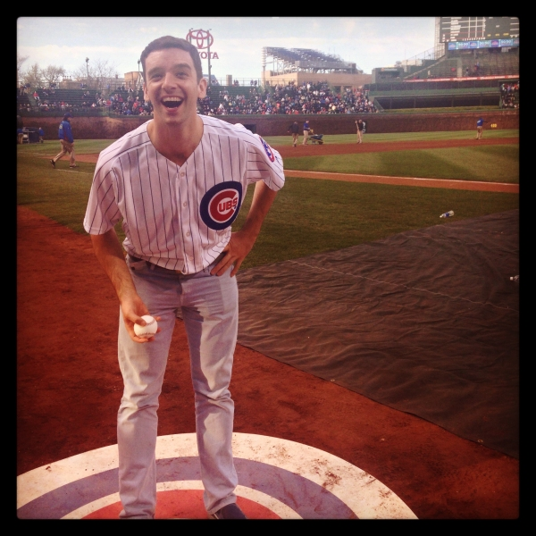 Photo Flash: BUYER & CELLAR's Michael Urie Throws First Pitch at Wrigley Field