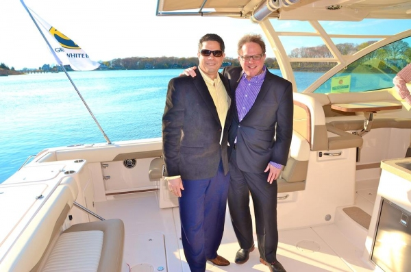 Doug Petri and Bruce T. Sloane on the Grady White boat provided by the Port of Egypt  Photo