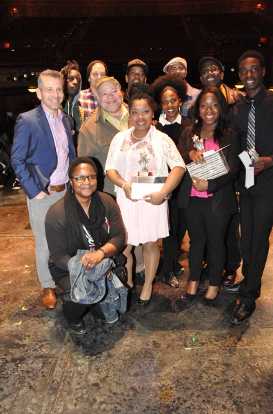The winners-Atiauna Grant, Ashley Herbert and Robert Upton with the judges-Narda E. Alcorn, David Cromer, Stephen McKinley Henderson, Pauletta Washington and James A Williams and Saul Williams, Ben Thompson, Christopher Jackson and Denzel Washington