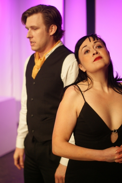 Erin Prosser as Actor 2, left to right, and Travis Horseman as Actor 1 in the short play ''The Craft'' by Andrew Biss, a part of MadLab''s Theatre Roulette.