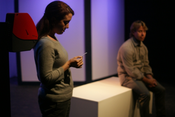 Melissa Bair as Woman, left to right, and Stephen Woosley as Man in the short play ''Take a Number'' by Kathlene McGovern, a part of MadLab''s Theatre Roulette.