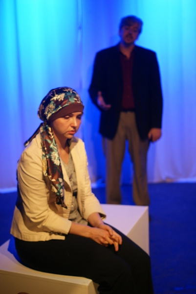 Julia Ferreri as Valerie, left to right, and Josh Kessler as Sam in the short play ''Perfectly Safe Places'' by Kathlene McGovern, a part of MadLab''s Theatre Roulette.