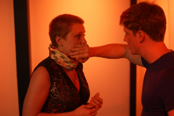 Mary Beth Griffith as Woman, left to right, and Casey May as Man in the short play '' Photo