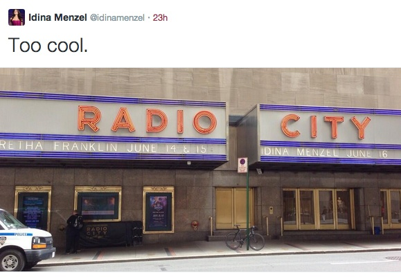 Idina Menzel Tweets First Look at Radio City Music Hall Show on Marquee