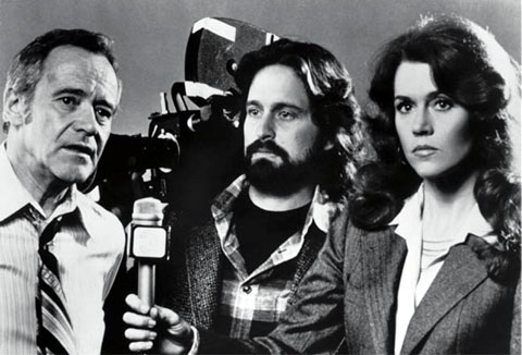 Stars of THE CHINA SYNDROME Jack Lemmon, Michael Douglas, and Jane Fonda. Photo Courtesy Columbia Pictures.