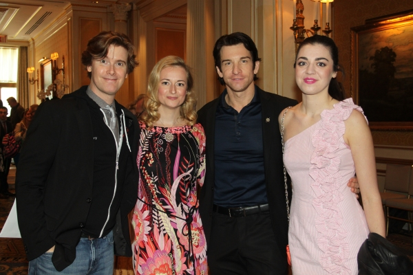 Larry O'Keefe, Nell Benjamin, Andy Karl and Barrett Wilbert