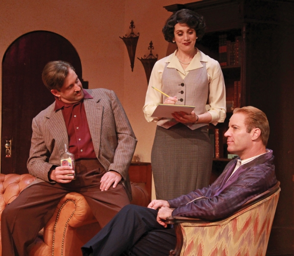 Gregg Weiner (Ernest Hemingway), Jennifer Christa Palmer (Miss Eve Montaigne) and Tom Wahl (F. Scott Fitzgerald)