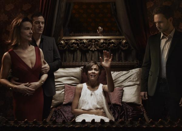 ROSEMARY''S BABY -- Season: 2014 -- Pictured: (l-r) Carole Bouquet as Margaux, Jason Isaacs as Roman, Zoe Saldana as Rosemary, Patrick J. Adams as Guy  -- (Photo by: Nino Munoz/NBC)