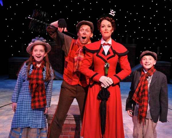 Michelle Moughan (as Jane Banks), Leo Ash Evens (as Bert), Brandon Singel (as Michael Banks) and Lauren Blackman (as Mary Poppins)