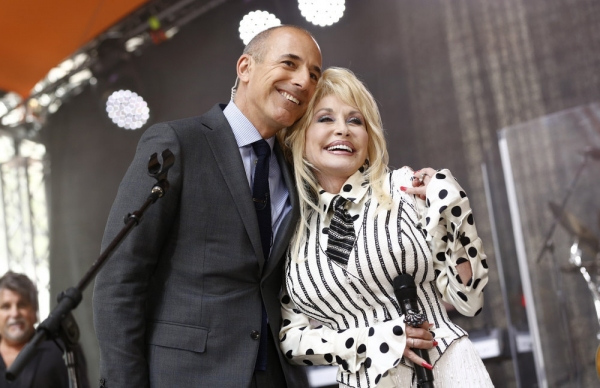 TODAY -- Pictured: (l-r) Matt Lauer and Dolly Parton appear on NBC News'' ''Today'' show -- (Photo by: Peter Kramer/NBC)