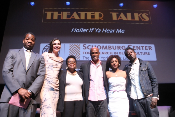 Dr. James Peterson, Jessica Green, Marcyliena Morgan, Kenny Leon, Saycon Sengbloh,  Saul Williams, the panelists at the Schomburg Center HOLLER IF YA HEAR ME Theater Panel