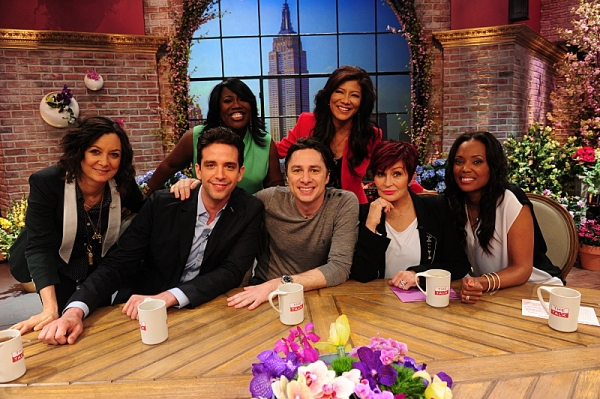 Actors Zach Braff and Nick Cordero from the Tony Award-nominated Broadway play ''Bullets Over Broadway'' visit the ladies of  THE TALK from New York, Monday, May 12, 2014 on the CBS Television Network. From left, Sara Gilbert, Nick Cordero, Sheryl Underwo