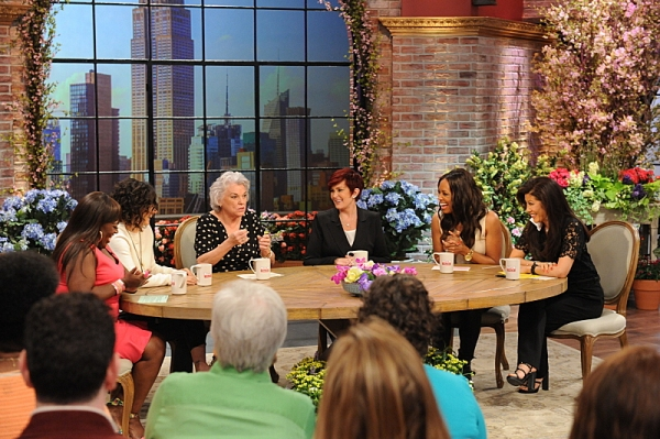 Emmy and Tony Award-winning actress Tyne Daly visits the ladies of  THE TALK from our New York, Wednesday, May 14, 2014 on the CBS Television Network. From left, Sheryl Underwood, Sara Gilbert, Tyne Daly, Sharon Osbourne, Aisha Tyler and Julie Chen, shown