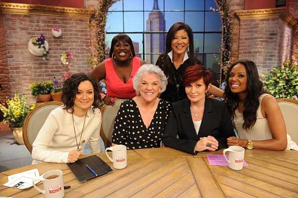 Emmy and Tony Award-winning actress Tyne Daly visits the ladies of  THE TALK from our New York, Wednesday, May 14, 2014 on the CBS Television Network. From left, Sara Gilbert, Sheryl Underwood, Tyne Daly, Julie Chen, Sharon Osbourne and Aisha Tyler, shown
