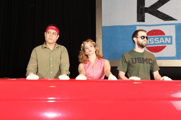 Reynaldo Arceno as Jesus, Taylor Pietz as Heather, and Luke Steingruby as Chris Photo