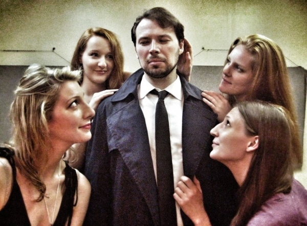 Eric Percival (Alf) surrounded by Ashley Lovell , Rachel Pfennigwerth, Emilie Bienne and Jennifer Lynn Tune,  as Eva and Erna
