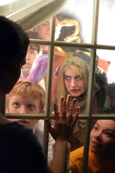 Meghann Garmany (Natasha) with Sam Ogilvie, Eddy Lee, Finn Kilgore, Lila Newman, and Erin Healani Chung (The Figments)