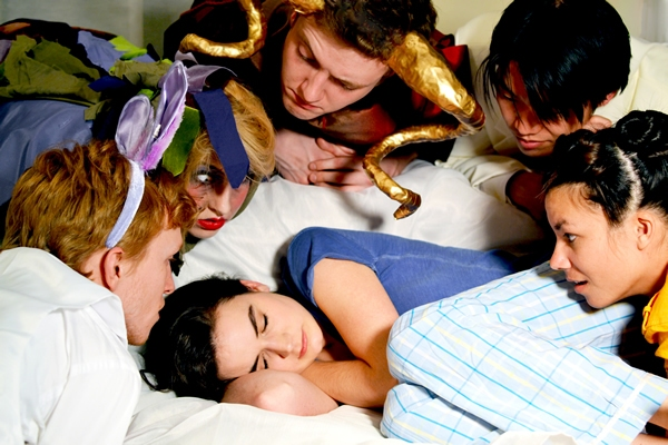 Meghann Garmany (Natasha) with Sam Ogilvie, Lila Newman, Finn Kilgore, Eddy Lee, and Erin Healani Chung (The Figments)