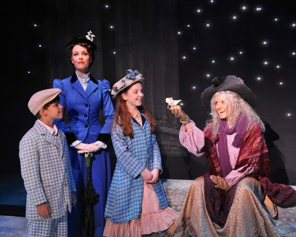 Lauren Blackman (as Mary Poppins), Gabriel Reis and Michelle Moughan (as Michael and Jane Banks), and Laura Cable (as Bird Woman) in ''Feed the Birds''