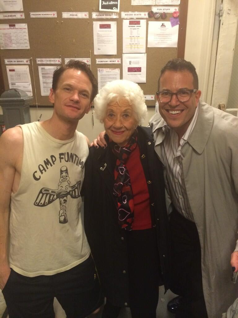 Twitter Watch: Michael Mayer with Neil Patrick Harris and Charlotte Rae Backstage at HEDWIG