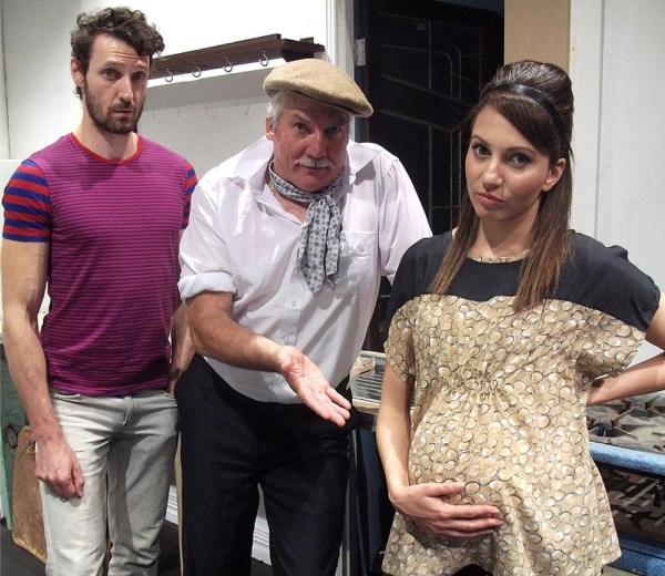 None-too-bright Dimitri (Cameron Leese), father Nicky (Kim Taylor) and pregnant daughter Jenna (Valerie Dragojevic) at odds